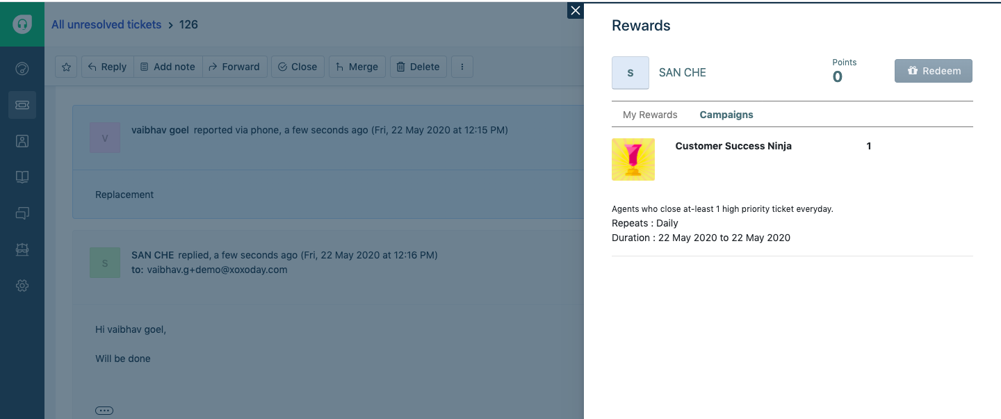 Reward Campaigns visible to all Freshdesk Agents