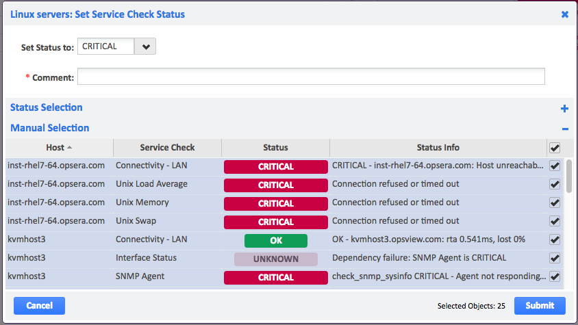 Example of Host Set Service Check Status Manual