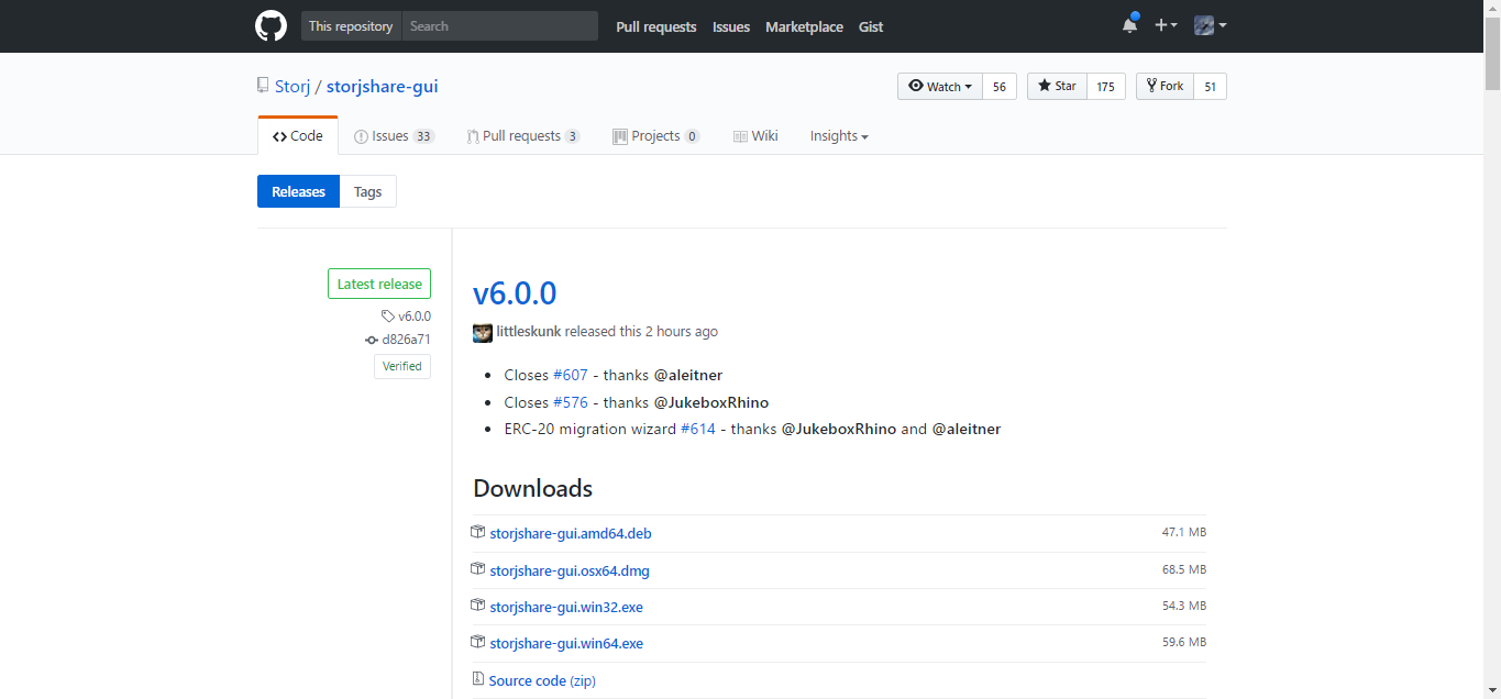 *Figure 2.2. Github Storj Share GUI download page.*