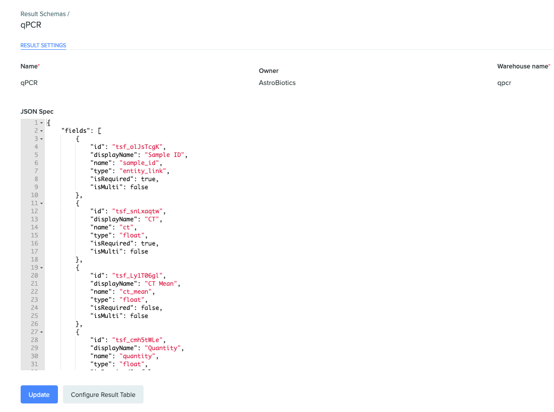Screenshot of the result schema settings page