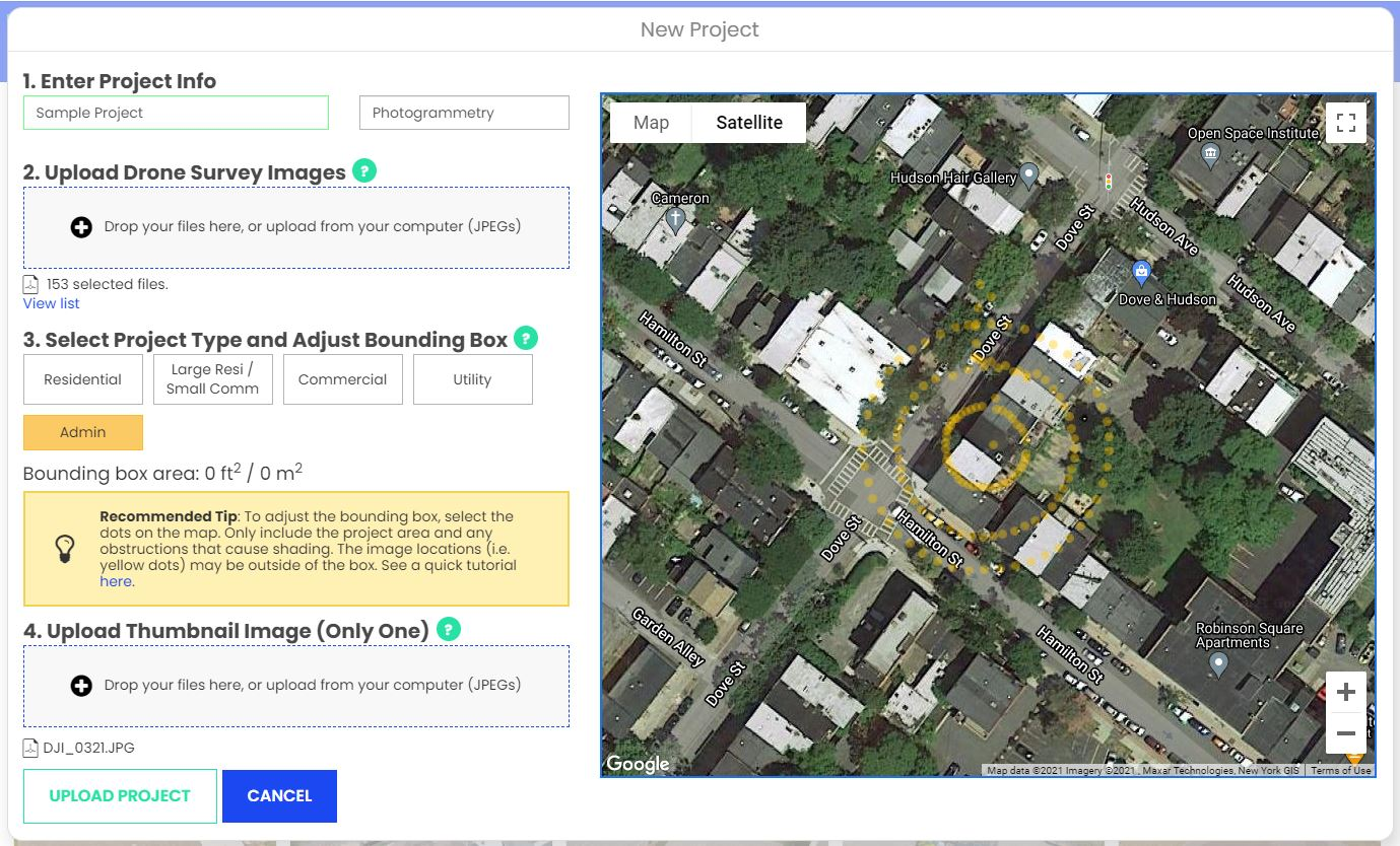 Upload window showing image alignment locations (yellow dots) overlaid on a google maps baselayer.