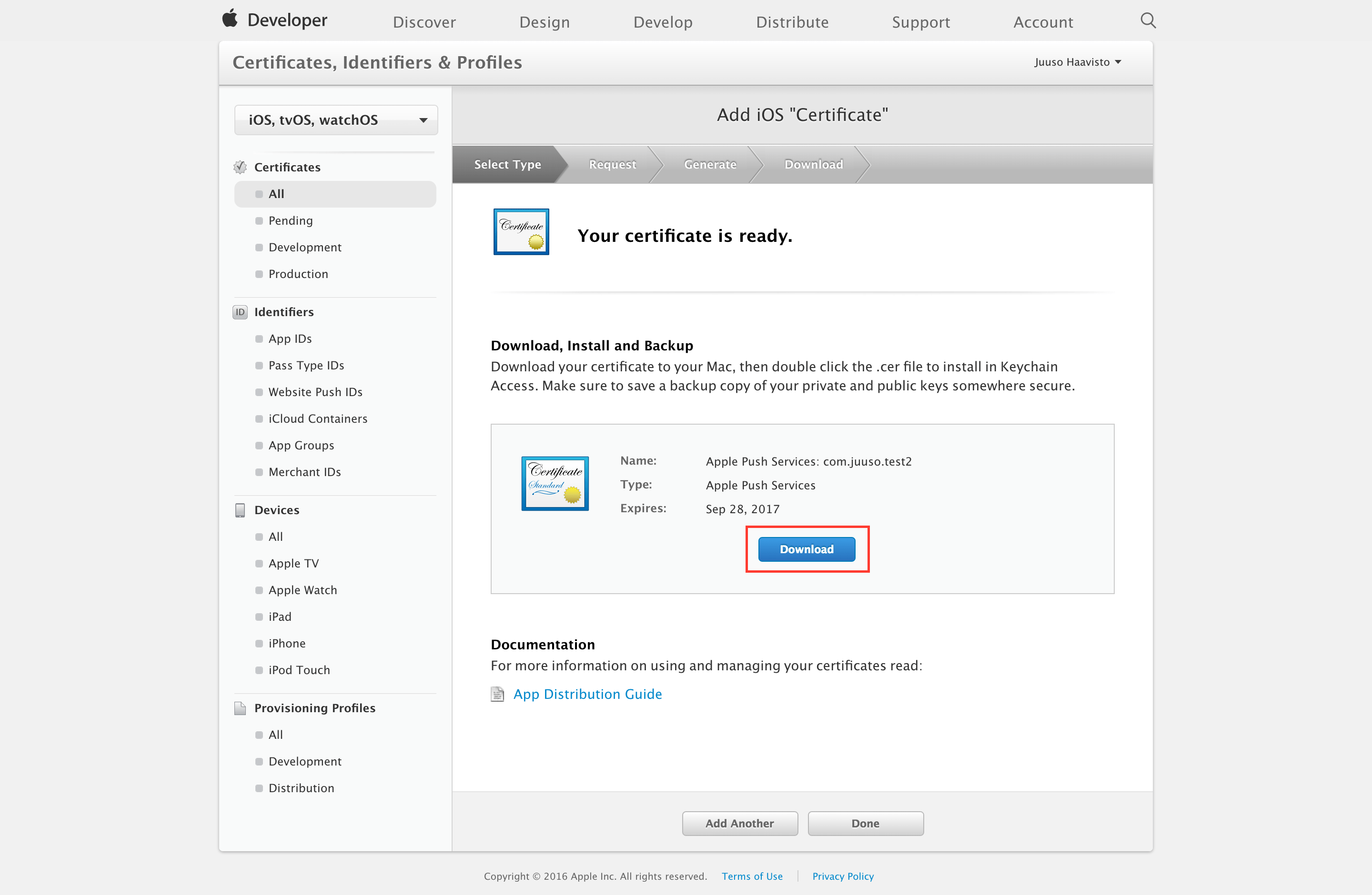 Generate an ios push certificate 26 press download to save your certificate xflitez Gallery