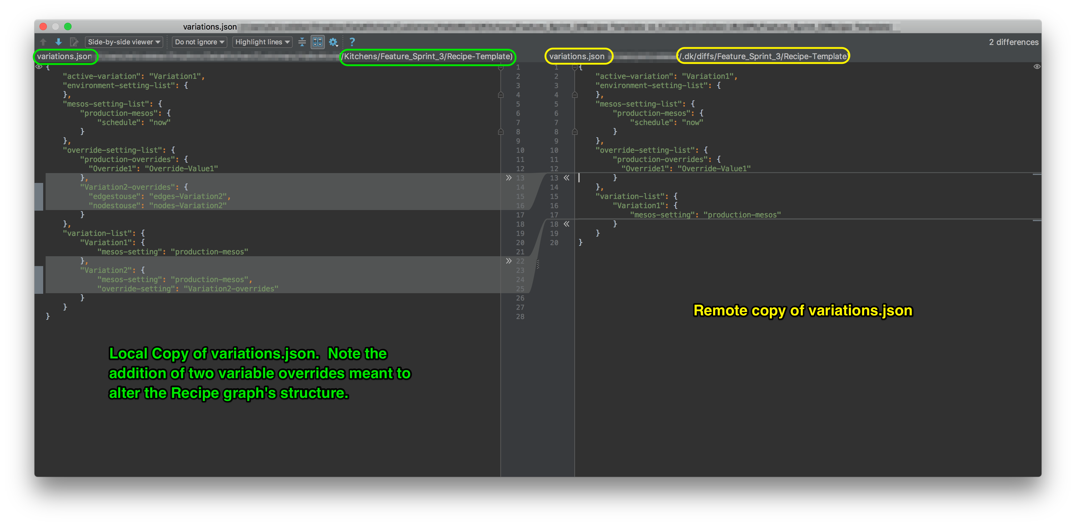 File differential between *local* and *remote* copies of **variations.json**.