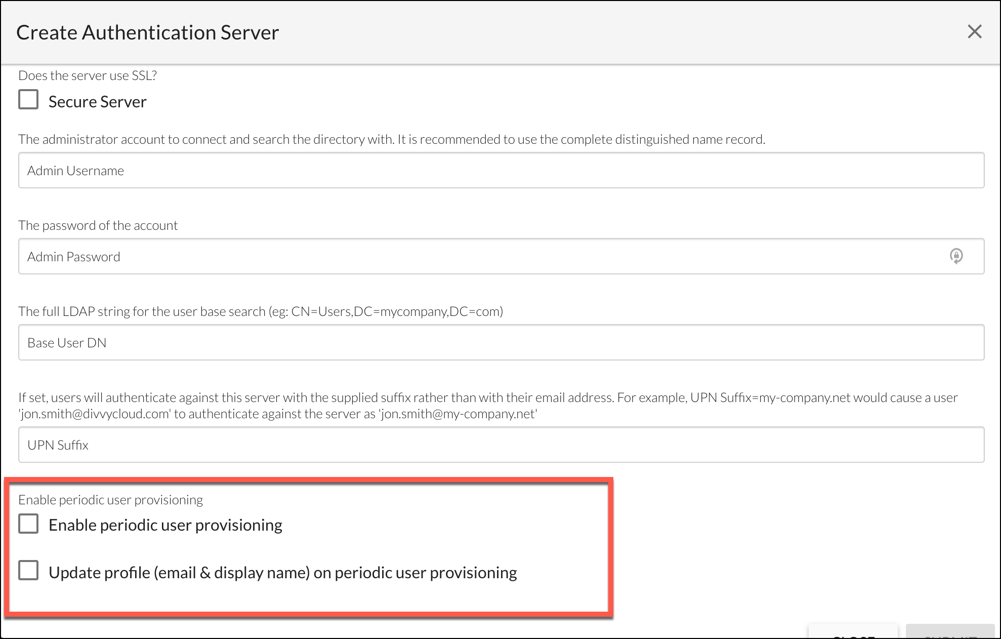 Create Authentication Server Form - Active Directory: Enabling JIT