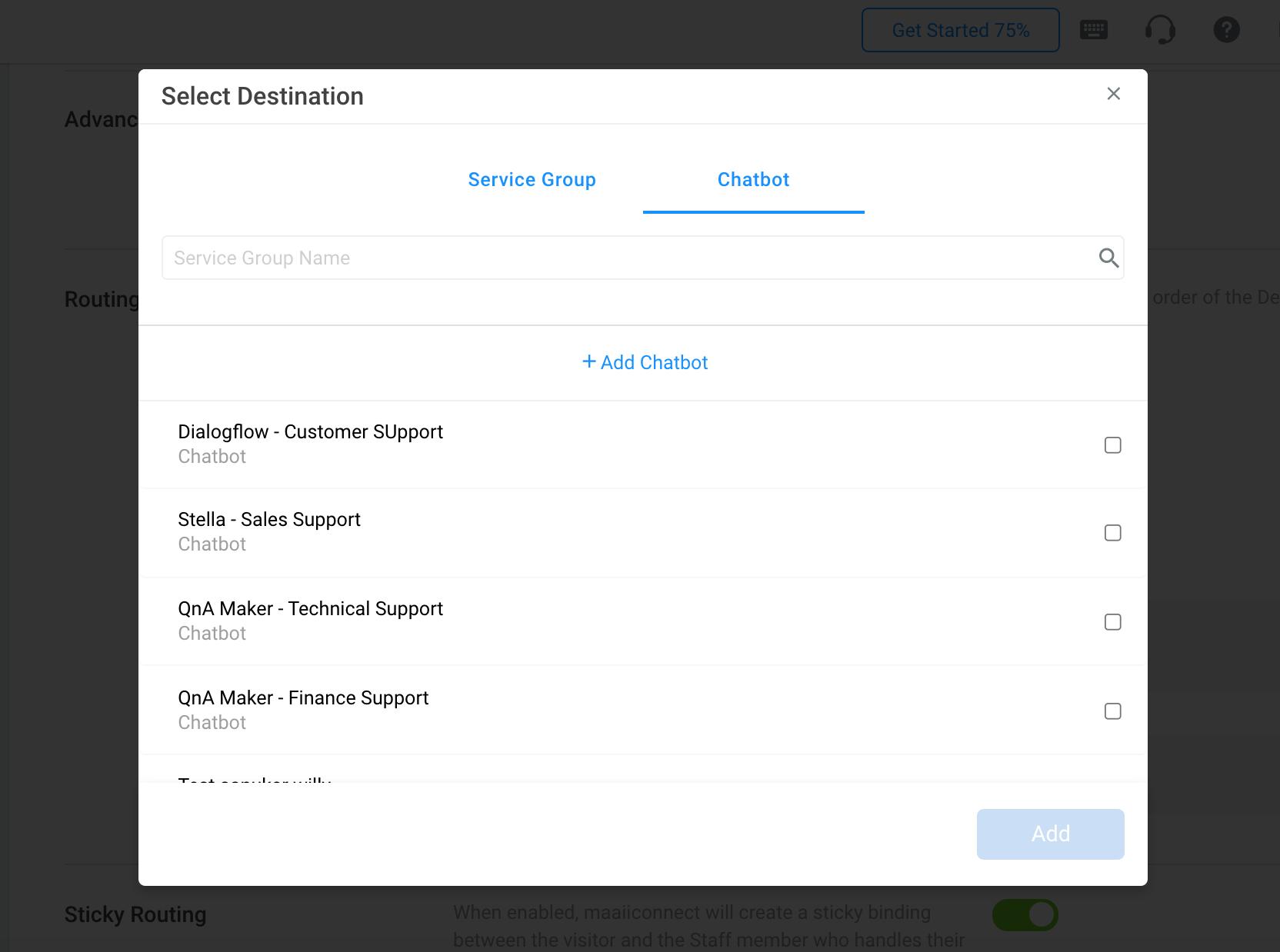 Selecting Chatbot as Destination