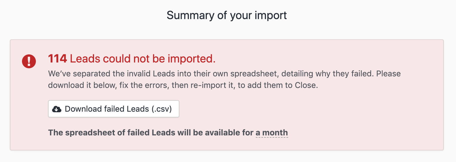 Download the .CSV of failed Leads to see why they weren't able to be imported