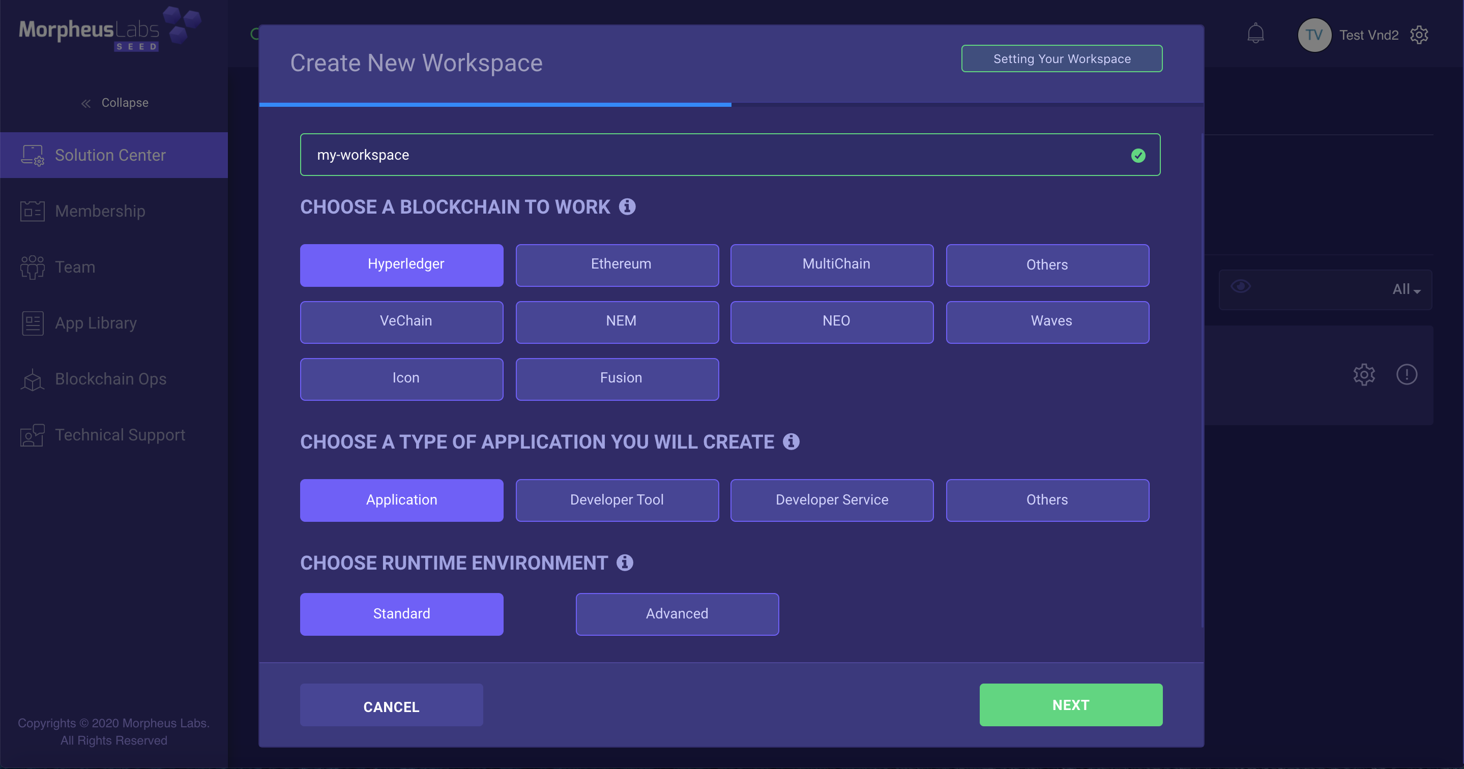 Select the options for the workspace
