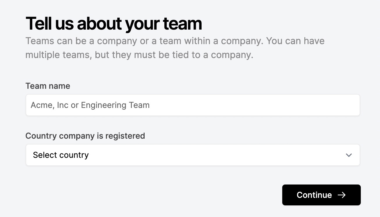 Adding a Team name and Country when creating a new Team.