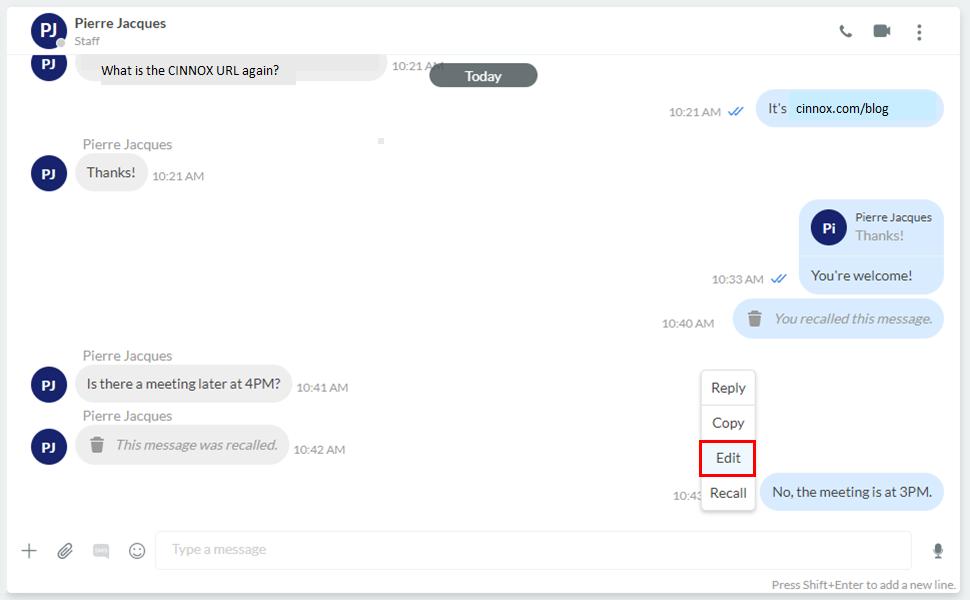 Edit message