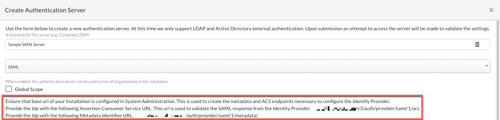 Creating a SAML Server - Required Configuration Details