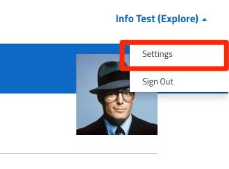 Select settings from the dropdown menu.