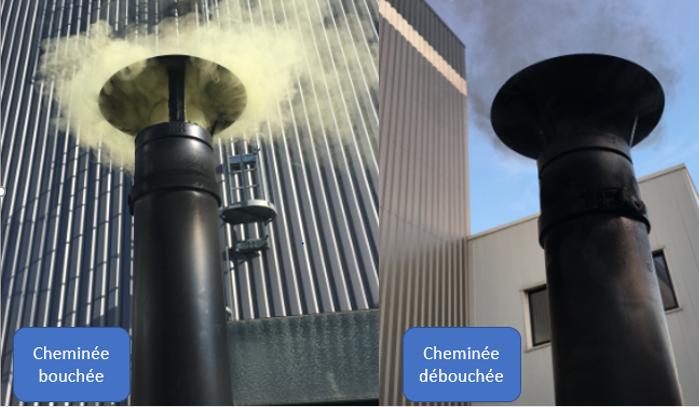 Forte fumée émanant de la cheminée bouchée