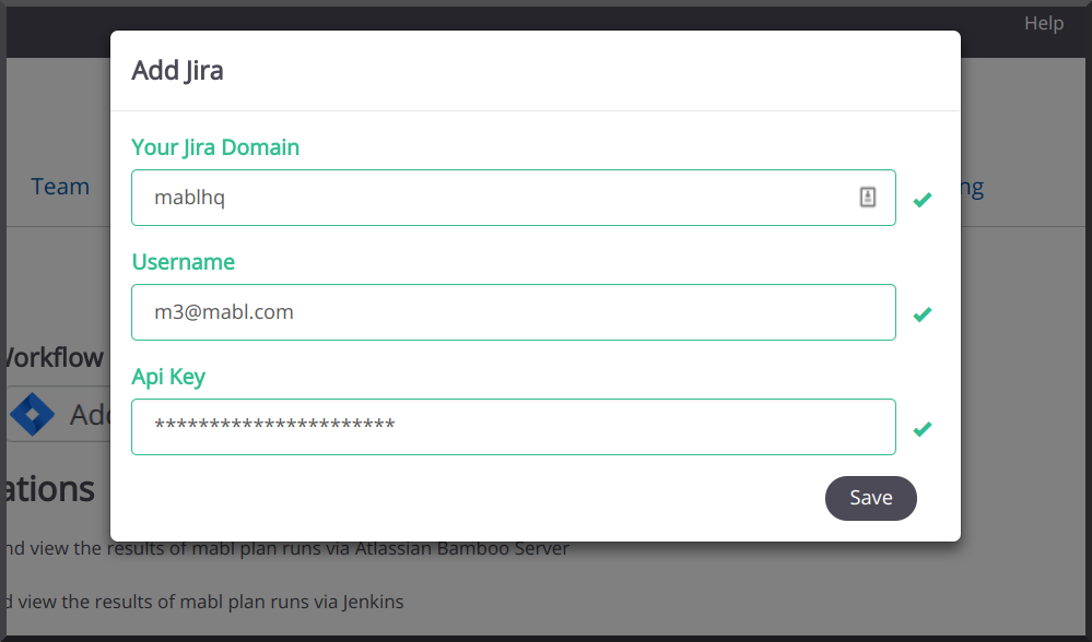 Add your domain, username, and API key.