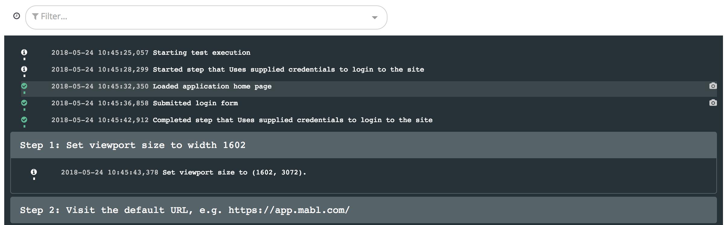 An example of an unfiltered journey run output log.