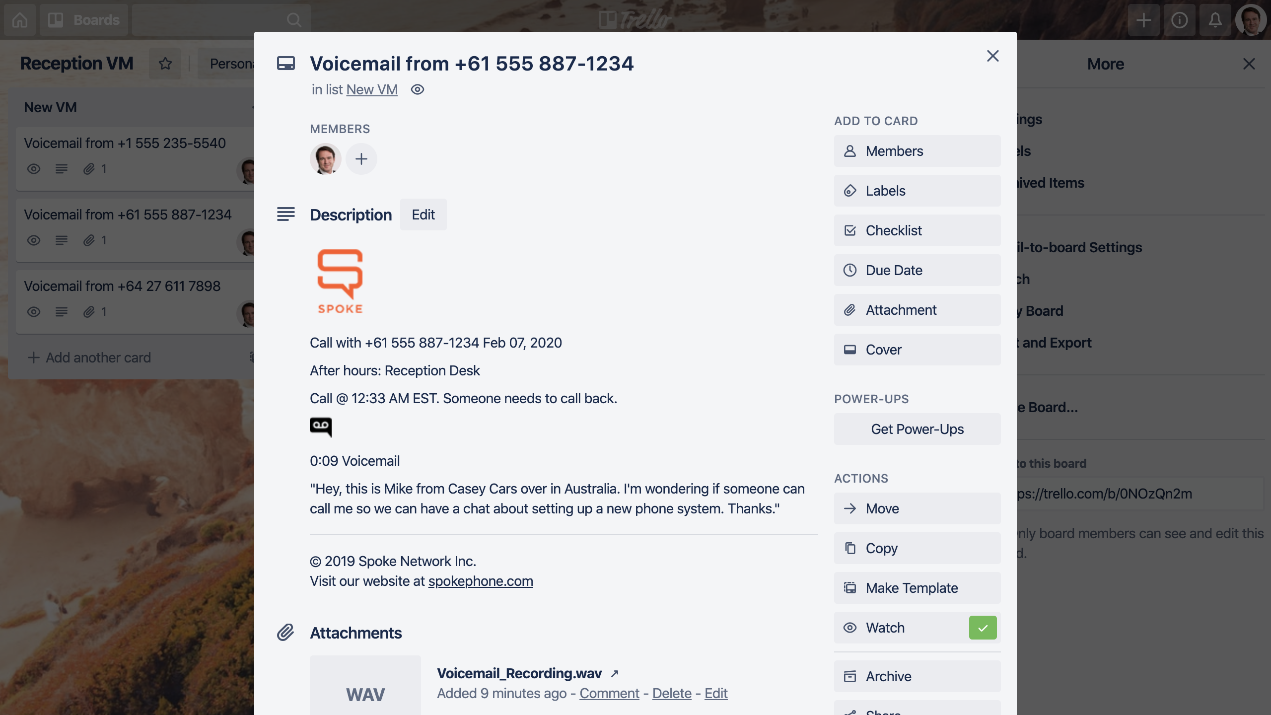 Example voicemail rendered on a Trello board