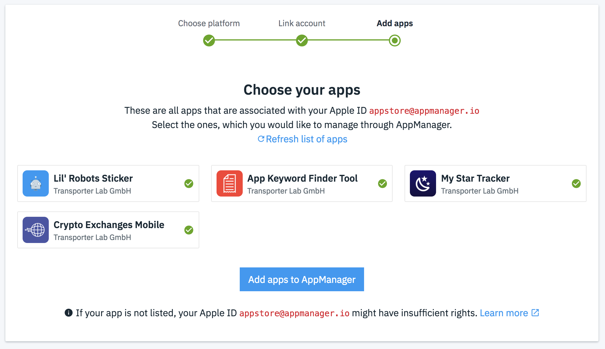 Select the apps you want to manage.