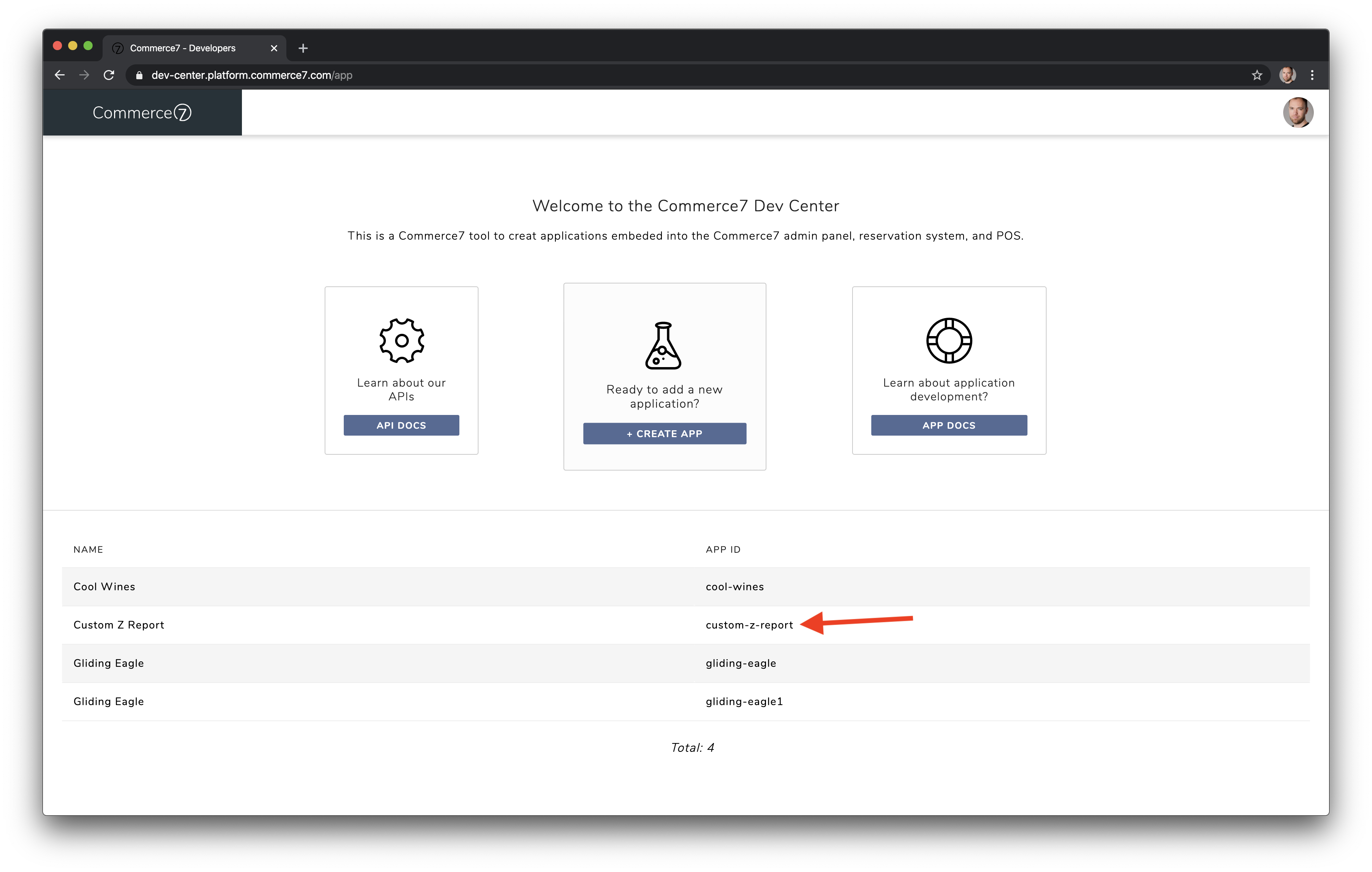 View your APP IDs in the dashboard view.