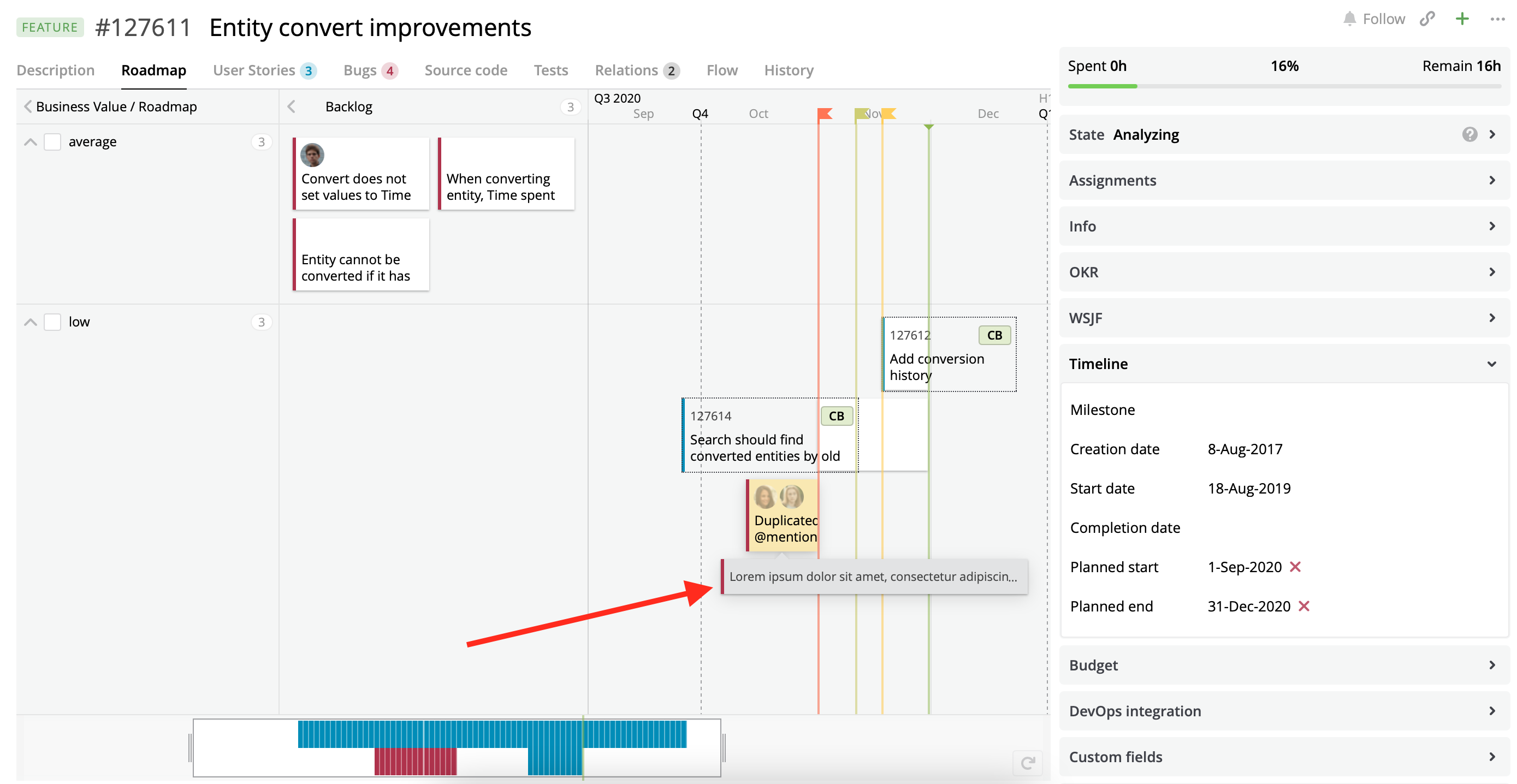 A Roadmap view with the configured cards displayed on a hover for Bugs.