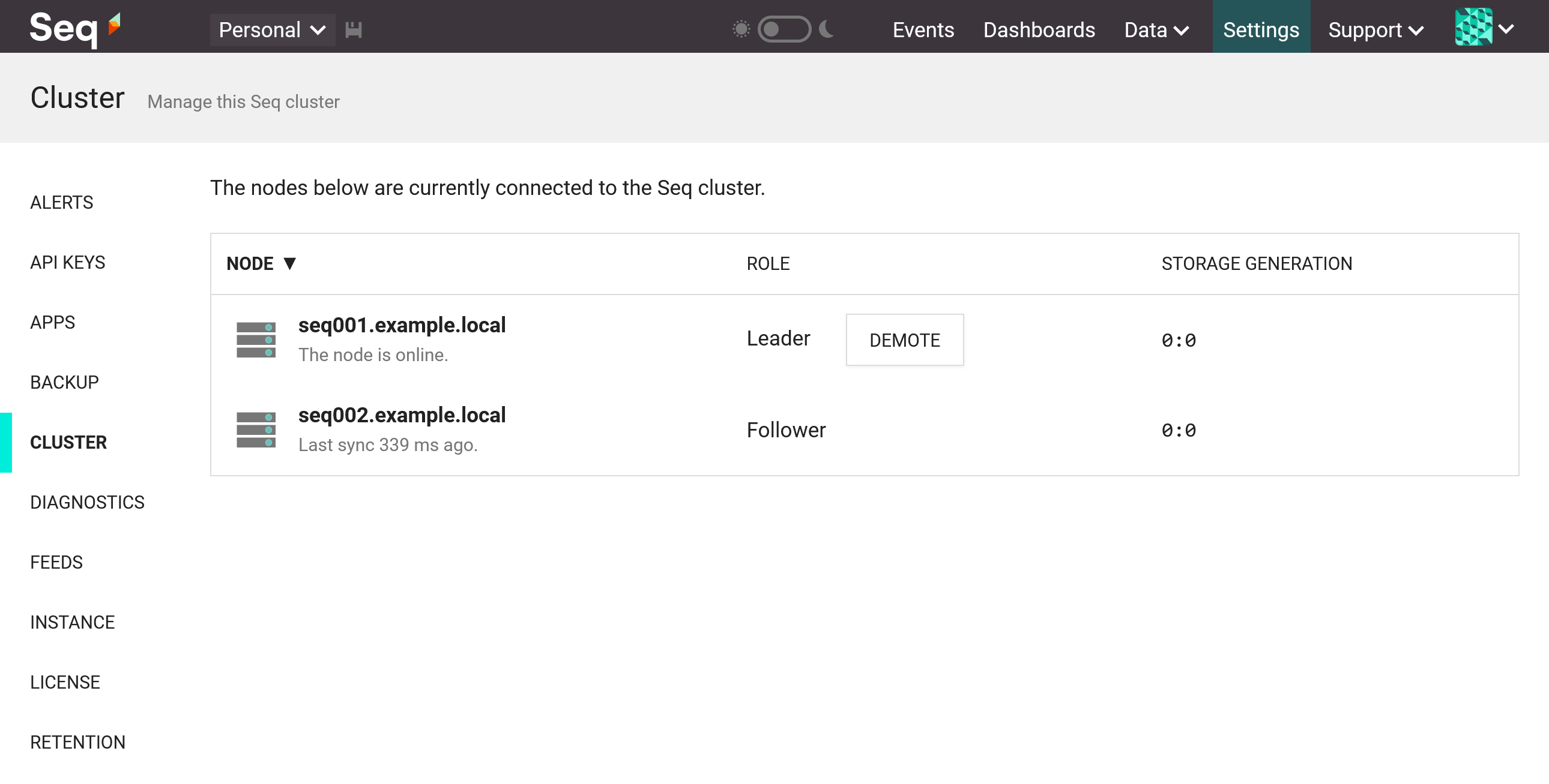 The Seq cluster screen with follower connected.