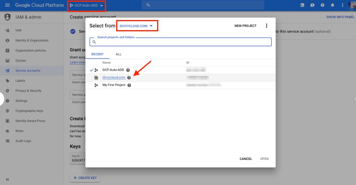 GCP - Select Domain