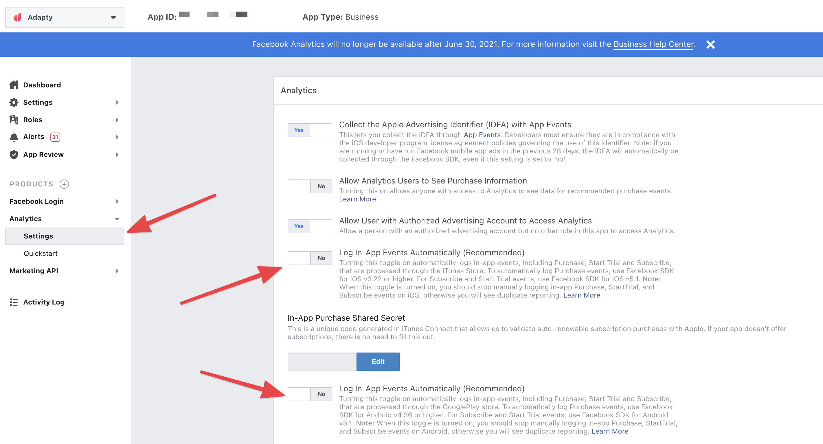 Disable in-app events logging in the Facebook SDK to avoid duplications
