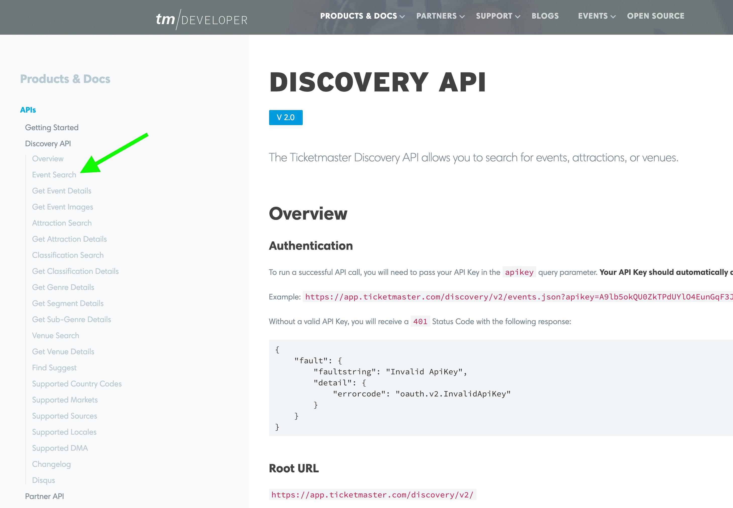 Ticketmaster API docs