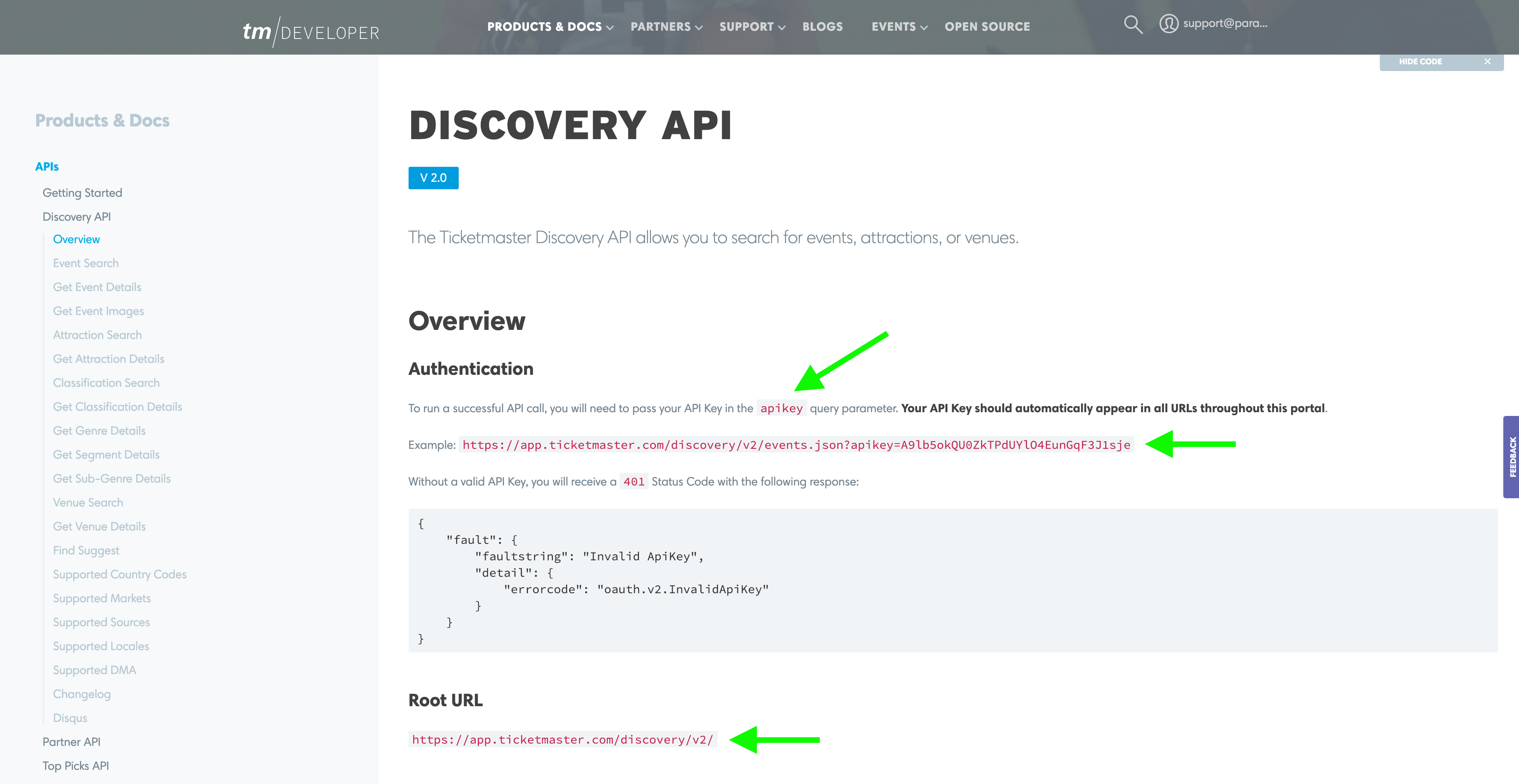 Discovery API overview section, looking at authentication details