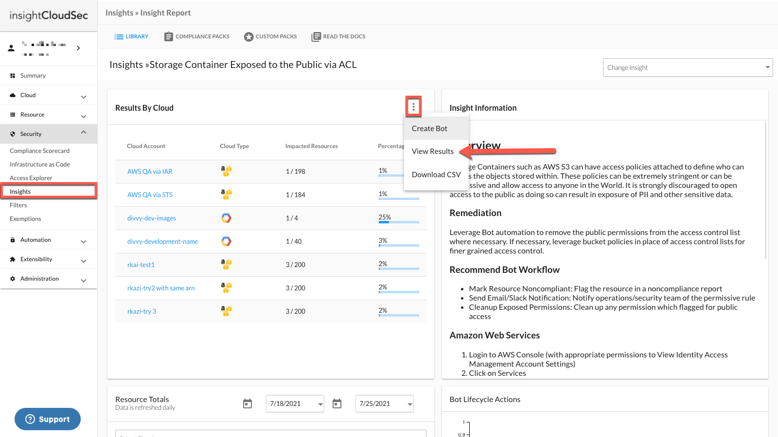 Open Exemptions through the Insight Name - View Results Menu