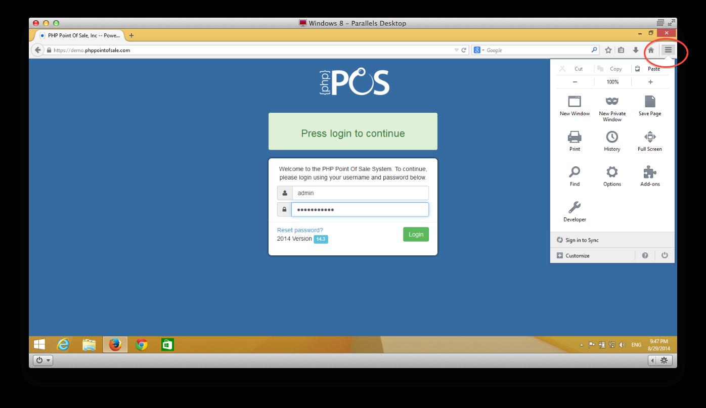 Firefox setup menu