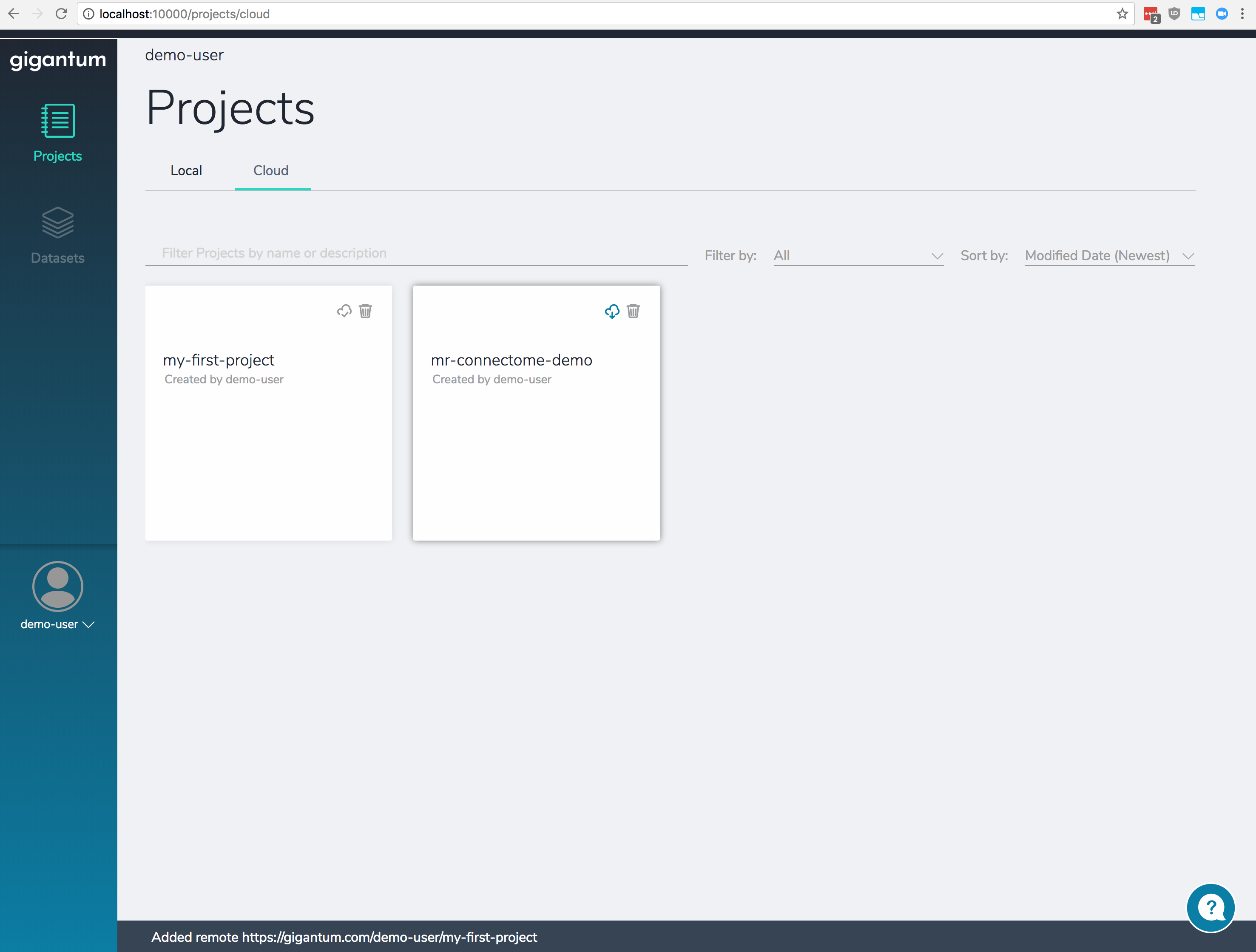 The cloud view page showing Projects that have been shared by other users or stored in the cloud.