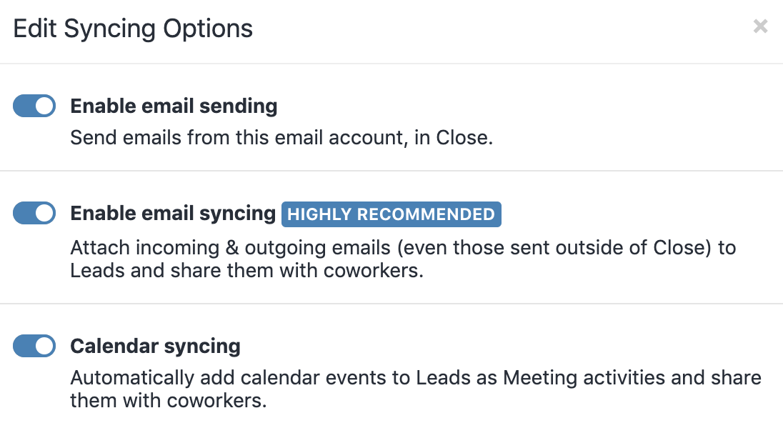 Enable Calendar syncing - New Account