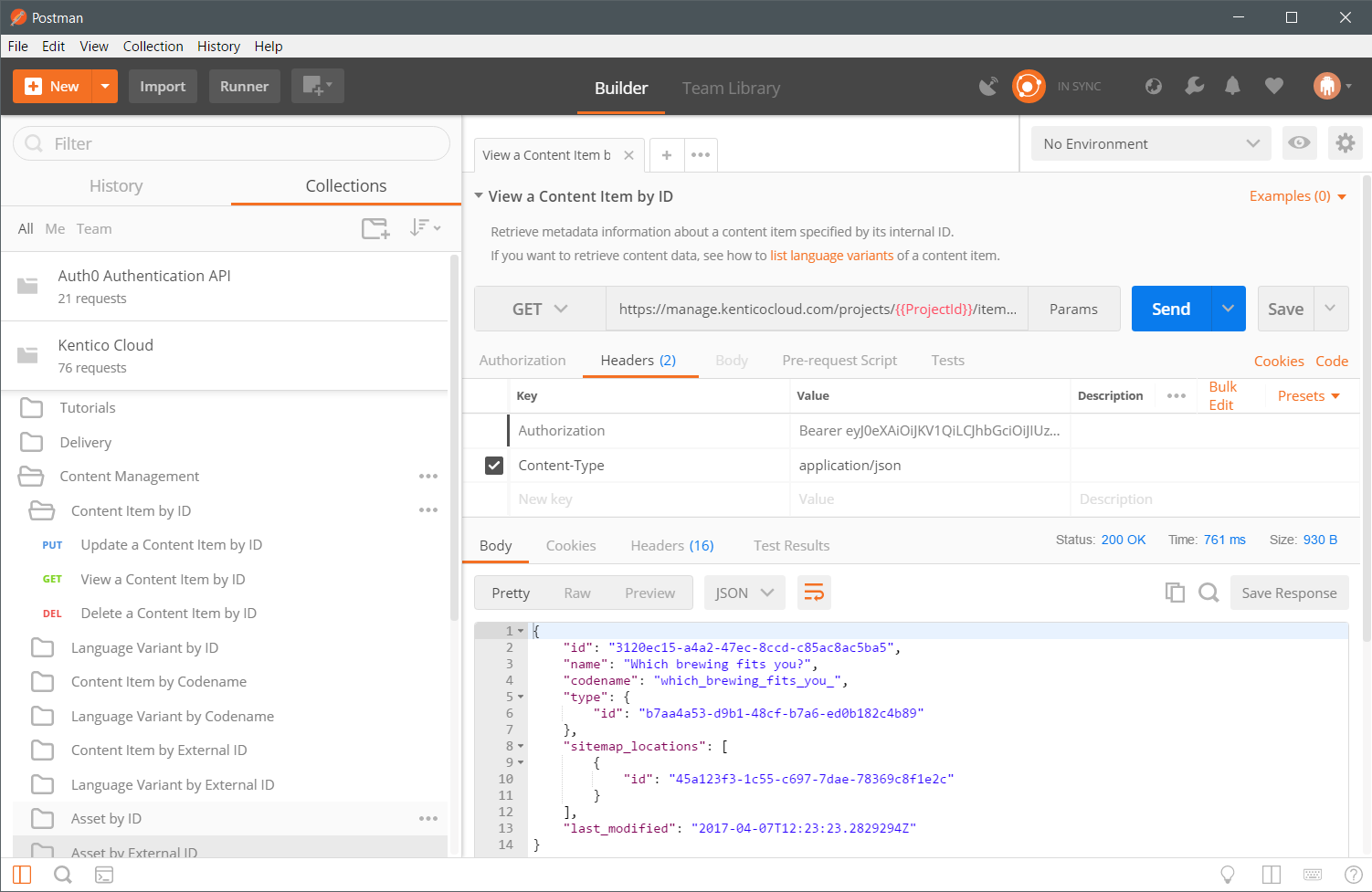 An example Kentico Cloud request in Postman