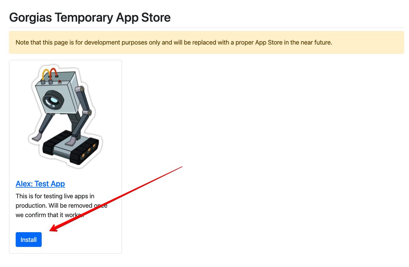 Gorgias Helpdesk Temporary App Store