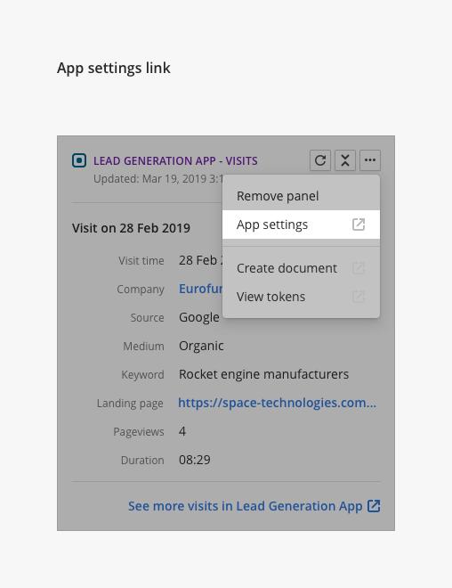 External link to app's settings