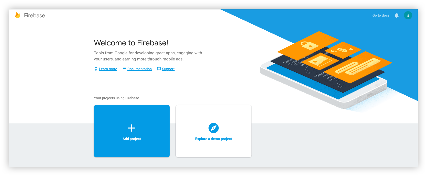 Create new project in the Firebase Console