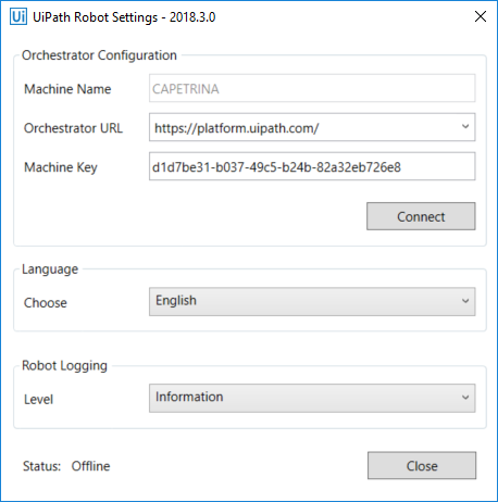 from orchestrator and the uipath robot settings window