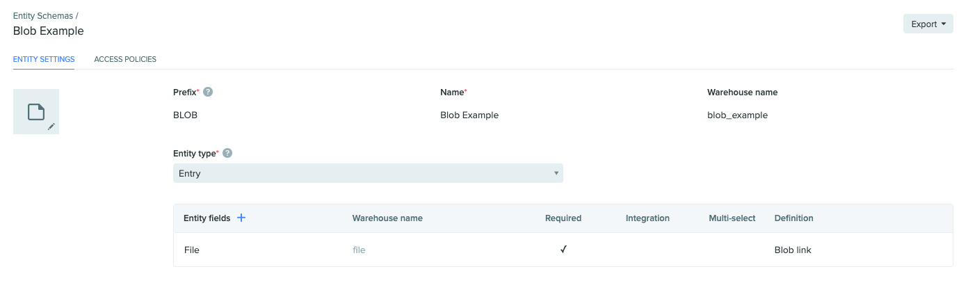 An entry schema configured to have a blob link field