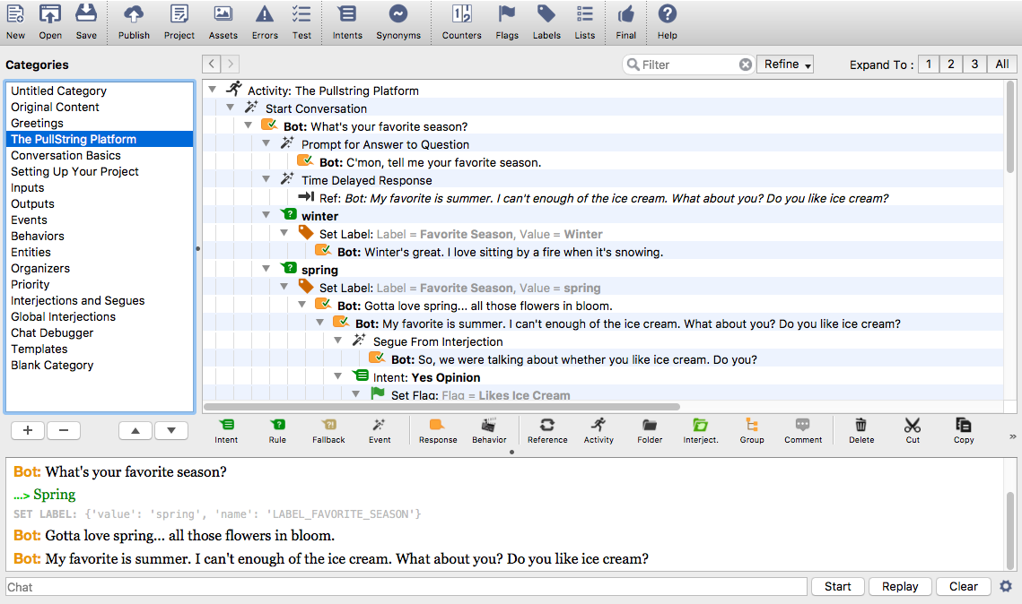 The PullString Author client for Mac OS X and Windows