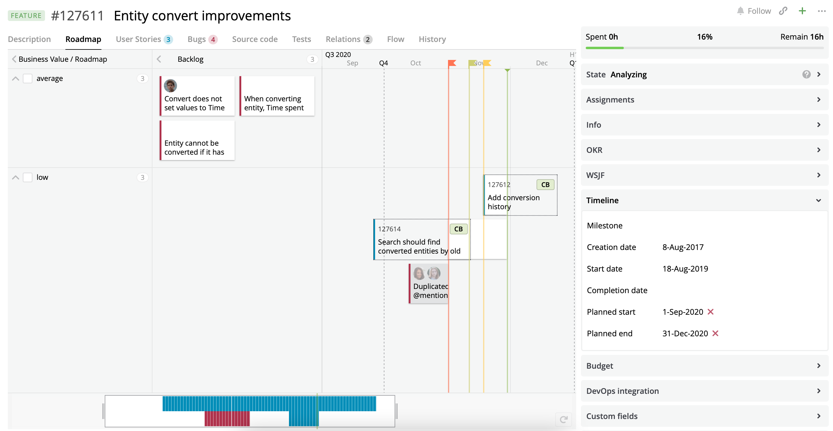 A Roadmap view with the customized cards for User Stories and Bugs.