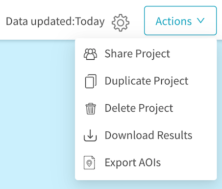 Download results from the project action menu