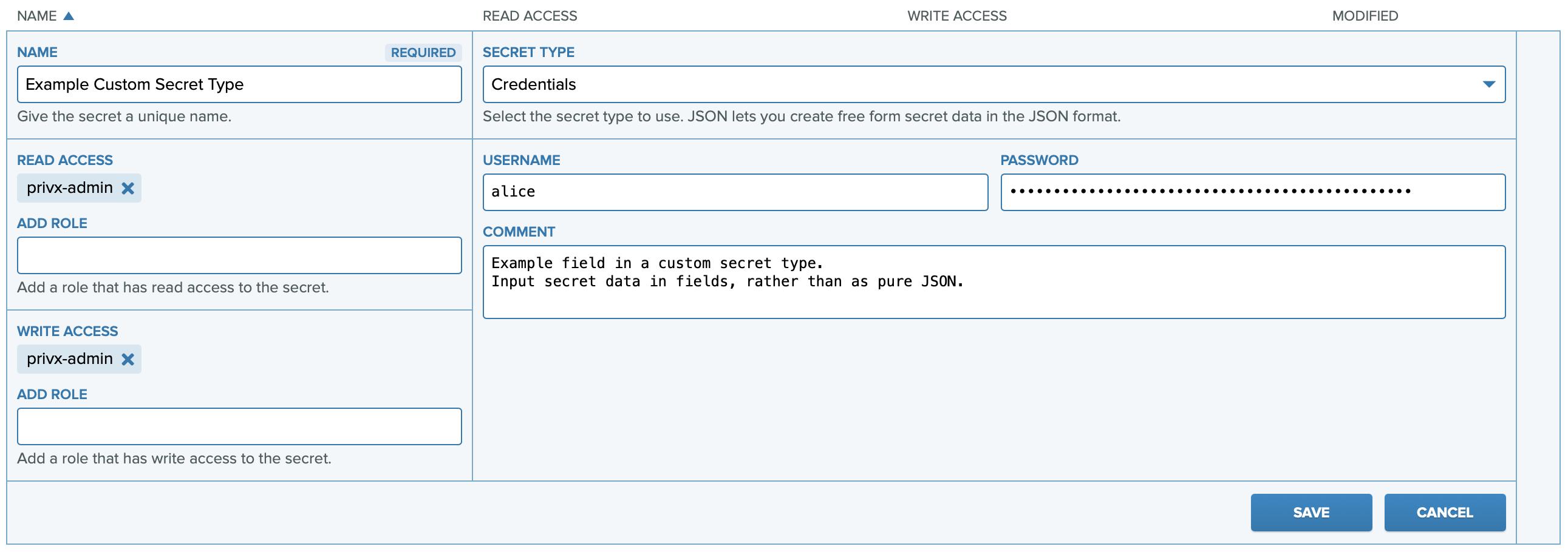 Custom secret types provide a form for providing secret data.