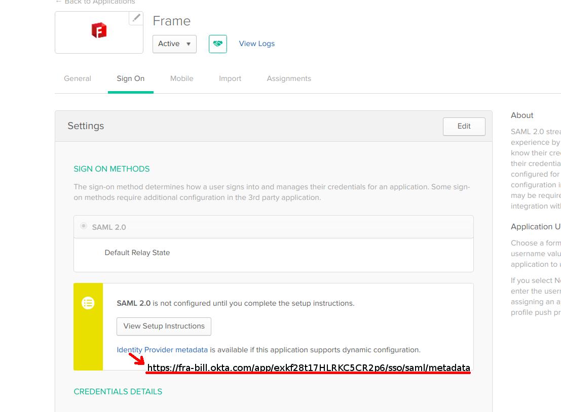 Integrating with Okta · Frame Documentation