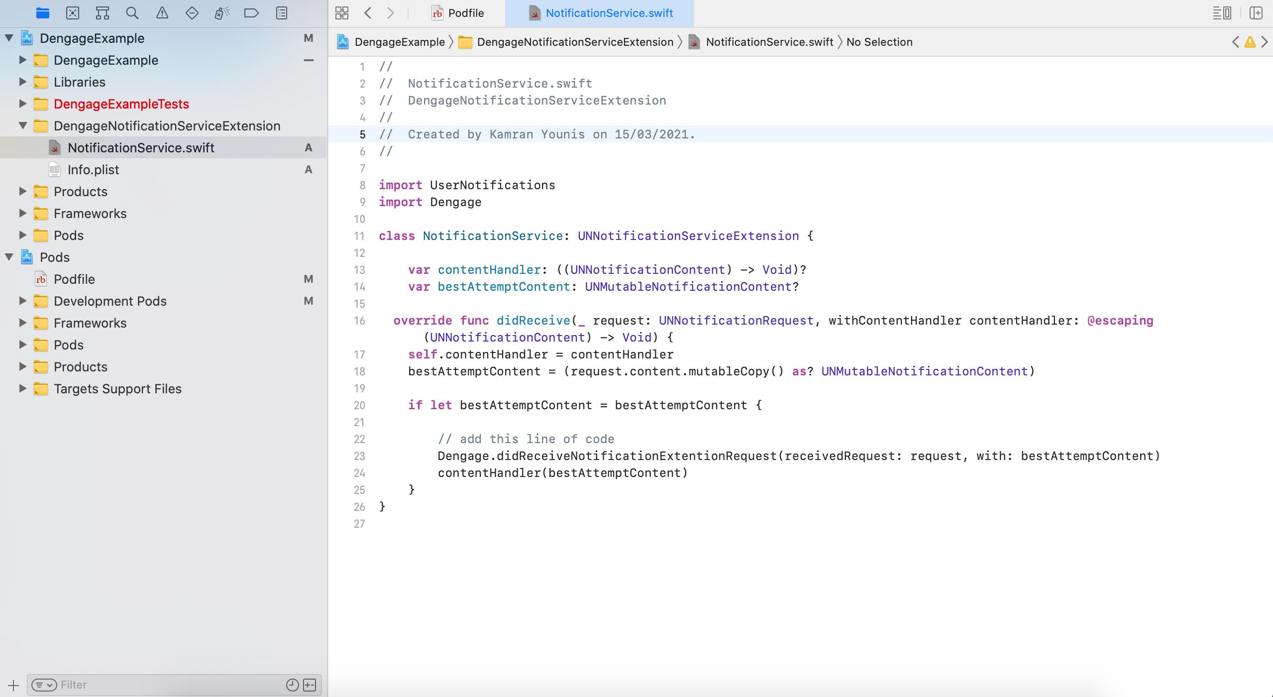 NotificationService.swift screenshot