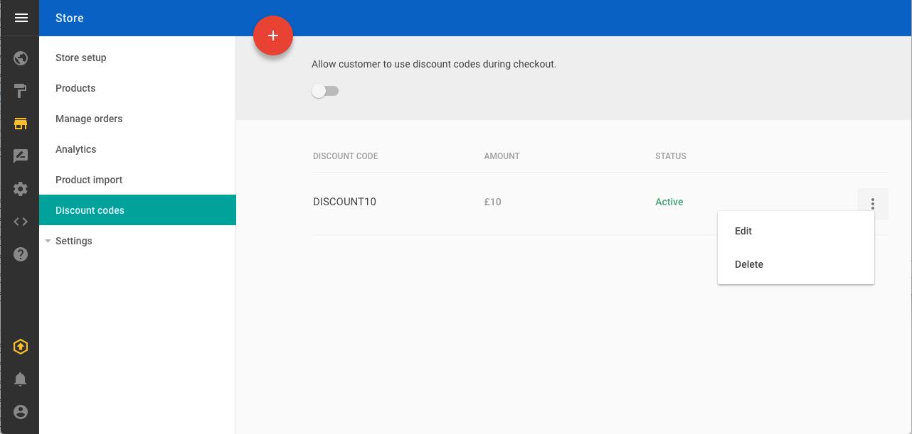 Discount code list