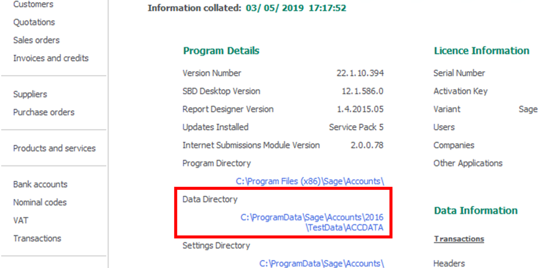 """Screenshot of that """"Data Directory"""" location on Sage 50's """"About"""" screen."""