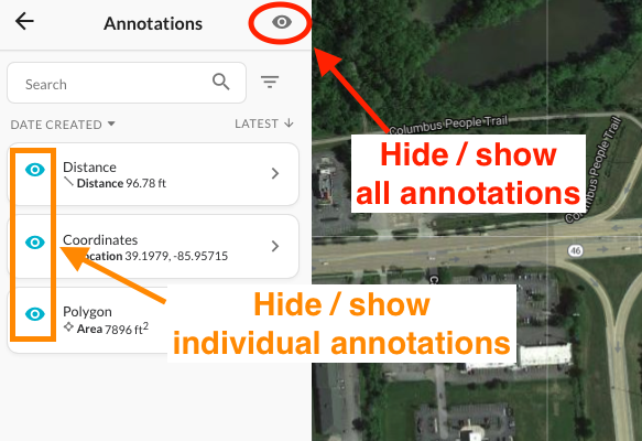 Visibility (eye) icons to hide or show annotation