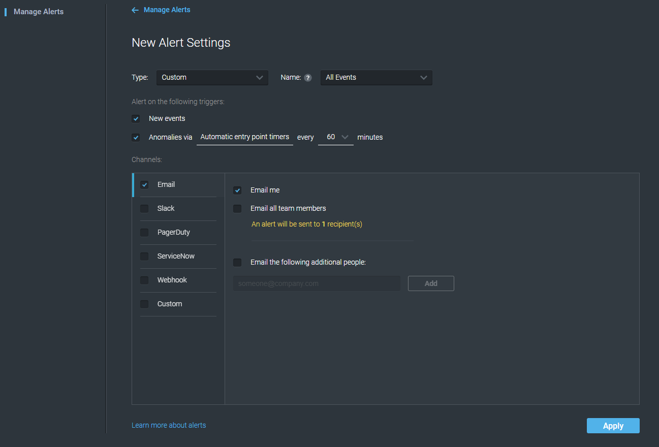New Alert Settings with updated information