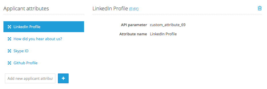 Example of a custom applicant attribute with the unique name `custom_attribute_69`
