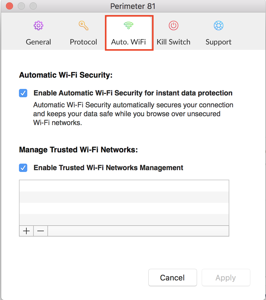 Enable or Disable Automatic Wi-Fi Security and Manage Trusted Networks