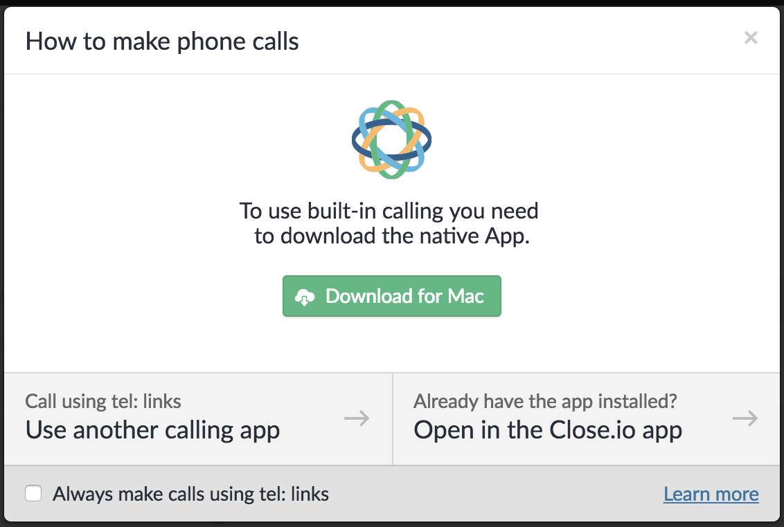 Web app call modal